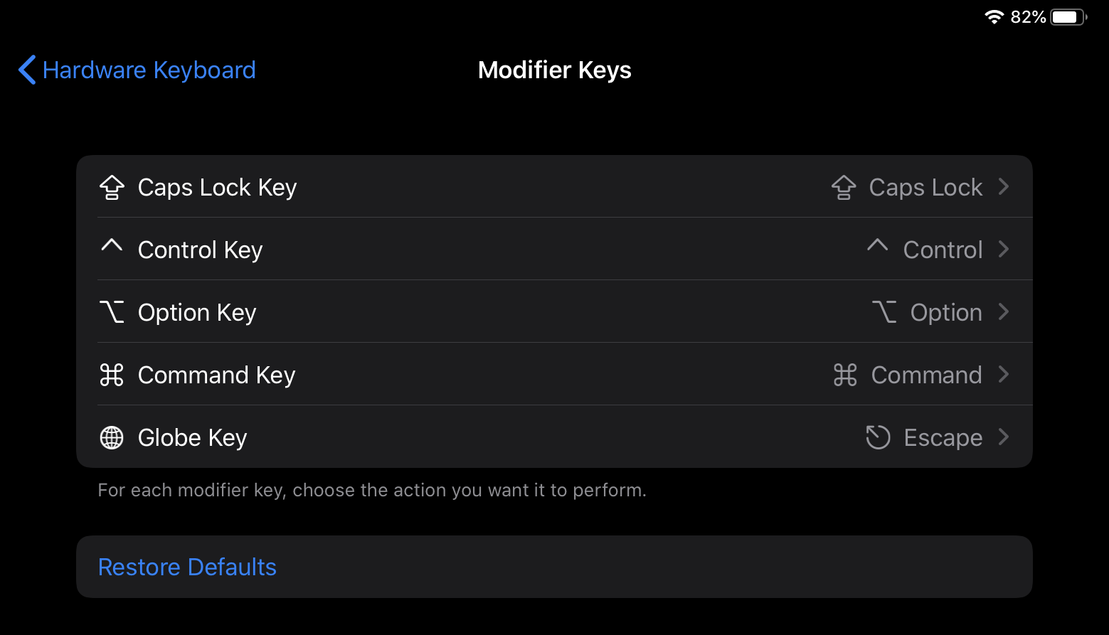 Remapping modifier keys in iPadOS