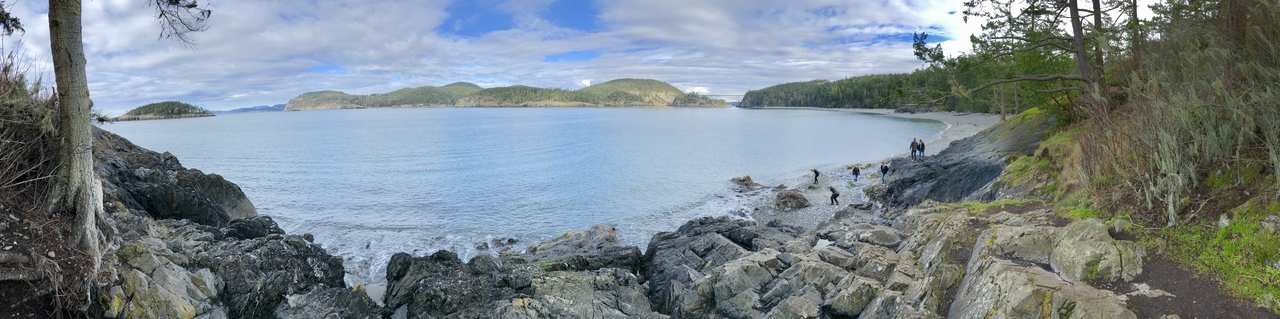 Panoramic image of Deception Pass on Whidbey Island